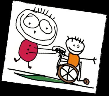 enfant avec chaise roulante et amis