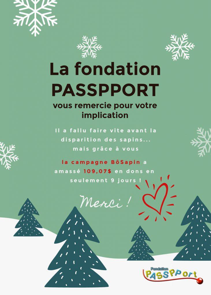 Remerciement de la part de la fondation PASSPPORT à BôSain